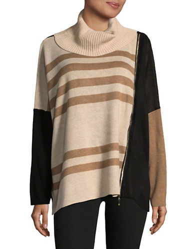 Ivanka Trump Mix Stripe Sweater-BEIGE/BLACK-Small