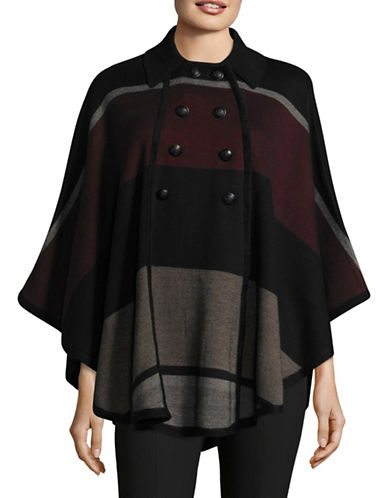 Ivanka Trump Double Breasted Cape-BLACK MULTI-Medium/Large