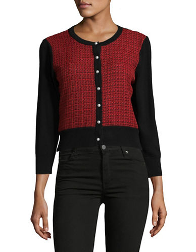 Karl Lagerfeld Paris Pearl Button Shrug-RED-X-Large