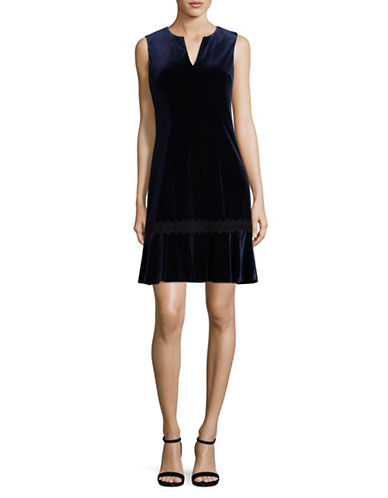 Karl Lagerfeld Paris Velvet Flounce Dress-BLUE-8