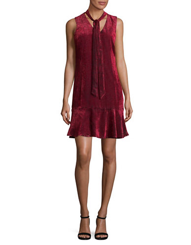 Karl Lagerfeld Paris Burnout Sleeveless Shift Dress-RED-4