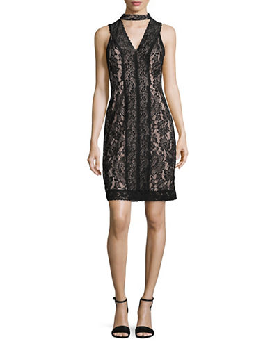 Karl Lagerfeld Paris Lace Choker Sheath Dress-BLACK/NUDE-14