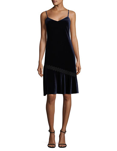 Karl Lagerfeld Paris Velvet Slip Dress-BLUE-6