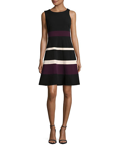 Tommy Hilfiger Striped Sleeveless A-Line Dress-BLACK-2