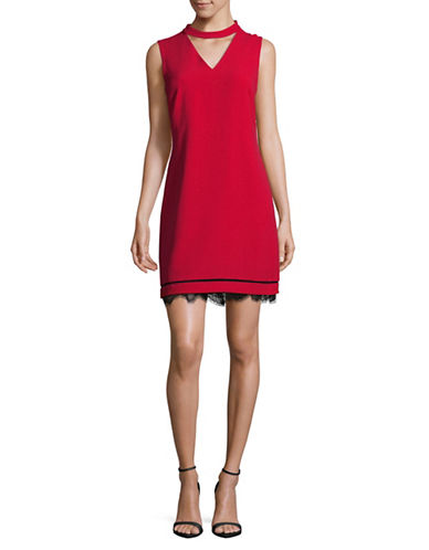 Karl Lagerfeld Paris Lace Choker Dress-RED-10