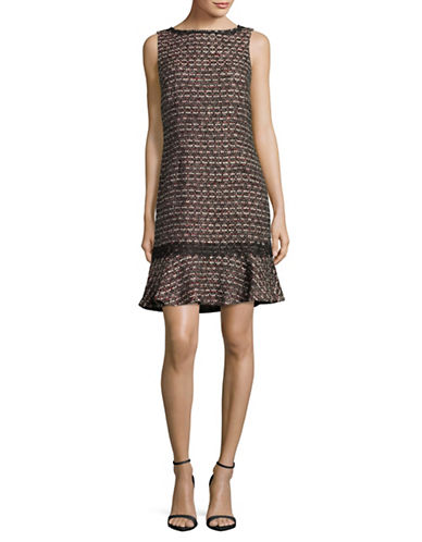 Karl Lagerfeld Paris Multi-Tweed Shift Dress-RED MULTI-4