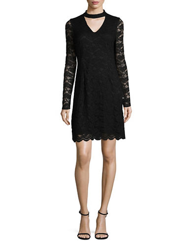 Karl Lagerfeld Paris Lace Choker Dress-BLACK-4