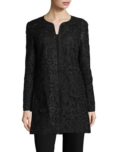 Karl Lagerfeld Paris Lace Open-Front Jacket-BLACK-Medium