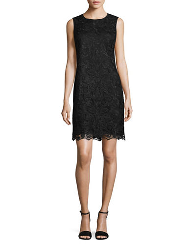 Karl Lagerfeld Paris Lace Sleeveless Shift Dress-BLACK-2