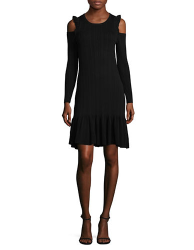 Ivanka Trump Knit Cold-Shoulder Dress-BLACK-Large
