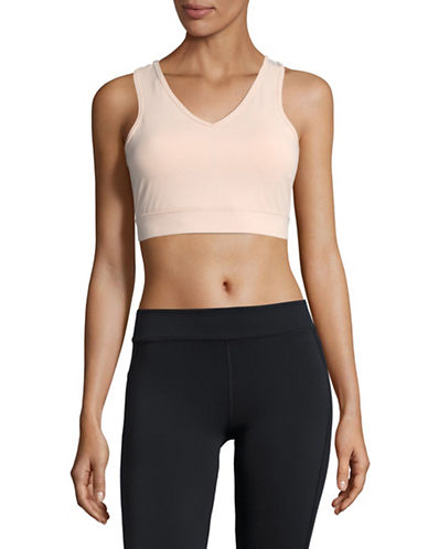 Ivanka Trump V-Neck Quick Dry Sports Bra-BLUSH-Medium