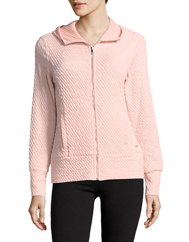 Ivanka Trump Textured Zip Front Hoodie-PINK-X-Small
