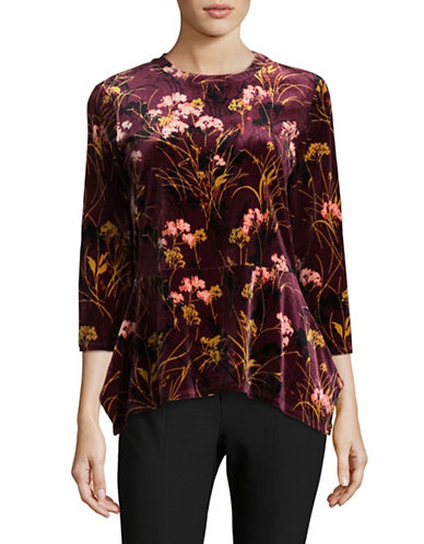 Ivanka Trump Knit Velvet Top-PURPLE-Large