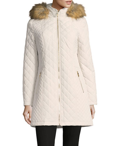 Ivanka Trump Quilted Faux Fur Parka-PEARL-Medium