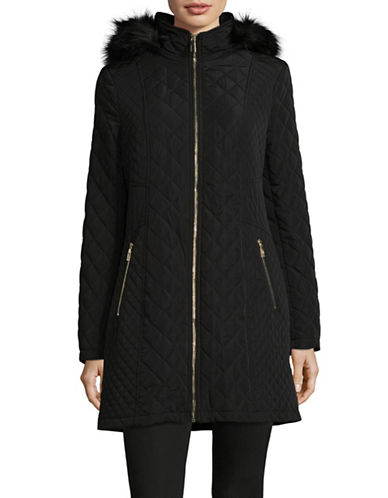 Ivanka Trump Quilted Faux Fur Parka-BLACK-Large 89473106_BLACK_Large