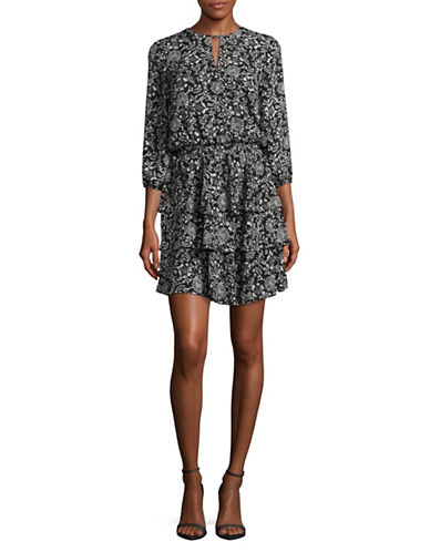 Ivanka Trump Printed Drop Waist Tiered Dress-BLACK/CREAM-12