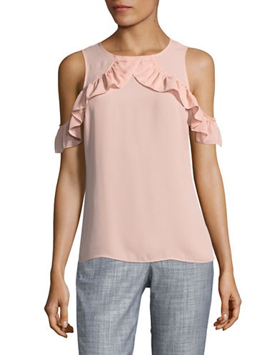 Ivanka Trump Ruffled Cold-Shoulder Top-PINK-Large