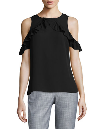 Ivanka Trump Ruffled Cold-Shoulder Top-BLACK-X-Small