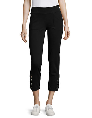 Ivanka Trump Eyelet Detail Pants-BLACK-X-Large