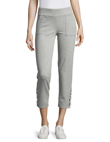 Ivanka Trump Eyelet Detail Pants-GREY-Medium