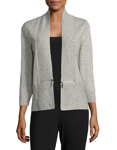 Ivanka Trump Knit Shrug with Zip Detail-GREY-Medium