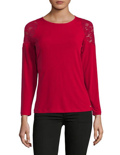 Ivanka Trump Lace Shoulder Knit Top-RED-Medium