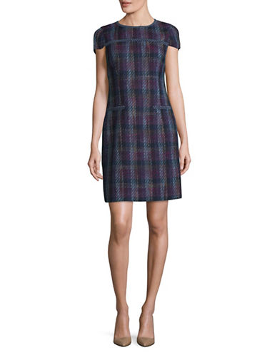 Karl Lagerfeld Paris Plaid Tweed Mini Dress-BLUE-12