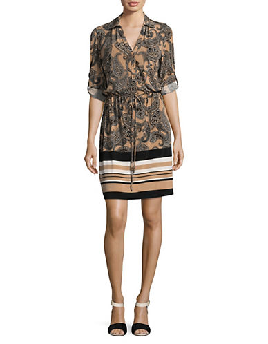 Tommy Hilfiger Paisley Wrap Dress-BLACK MULTI-2