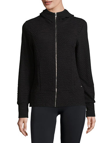 Ivanka Trump Textured Zip Front Hoodie-BLACK-Small