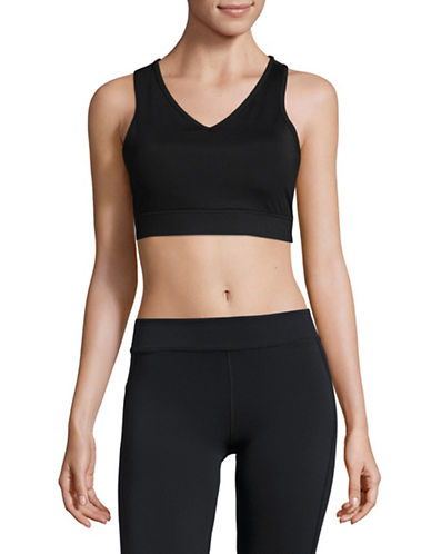 Ivanka Trump V-Neck Quick Dry Sports Bra-BLACK-Medium 89486179_BLACK_Medium