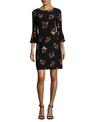 Tommy Hilfiger Bell Sleeve Sheath Dress-BLACK MULTI-12