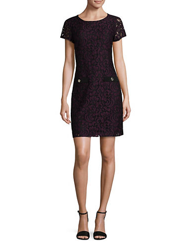 Tommy Hilfiger Lace Shift Dress-RED/BLACK-2