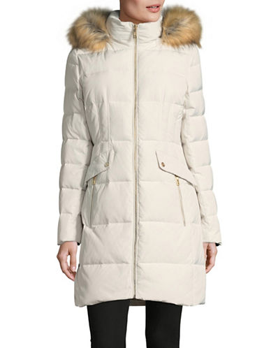 Ivanka Trump Cinched Waist Parka-PEARL-Medium