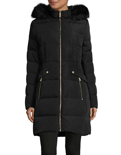 Ivanka Trump Cinched Waist Parka-BLACK-X-Small