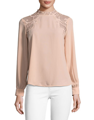 Ivanka Trump Lace-Shoulder Romantic Blouse-PINK-X-Large