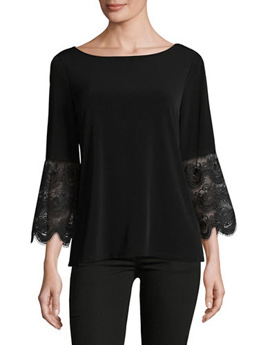Ivanka Trump Lace Bell Sleeve Top-BLACK-X-Small