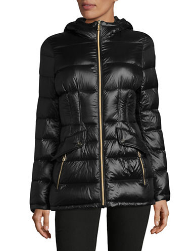Ivanka Trump Premium Quilted Down Puffer Coat-BLACK-Small