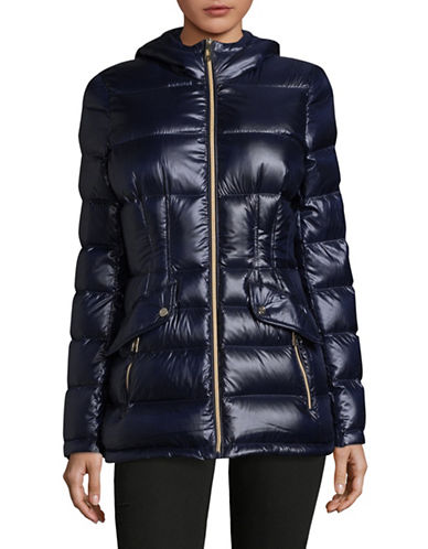 Ivanka Trump Premium Quilted Down Puffer Coat-NAVY-Medium
