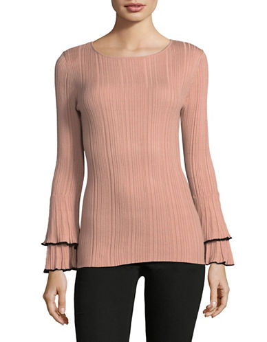 Ivanka Trump Ruffled Bell-Sleeve Sweater-PINK-Small