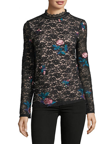 Ivanka Trump Long Sleeve Floral Lace Top-BLACK-Small 89598895_BLACK_Small