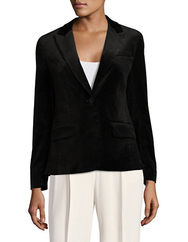 Ivanka Trump Notch Velvet Blazer-BLACK-4