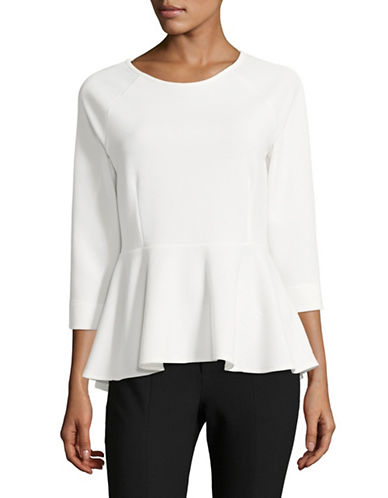 Ivanka Trump Three-Quarter Sleeve Crepe Top-IVORY-X-Large
