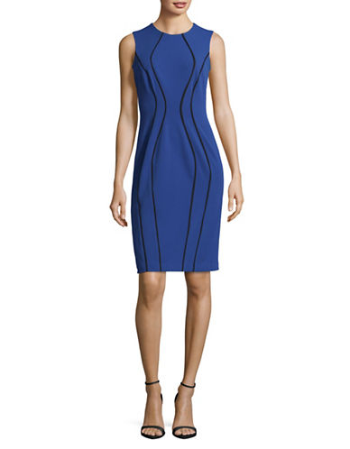 Tommy Hilfiger Sleeveless Piped Sheath Dress-BLUE-4