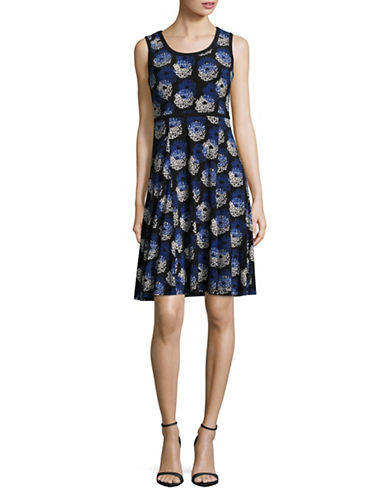Tommy Hilfiger Floral Jersey Fit-and-Flare Dress-BLUE-14