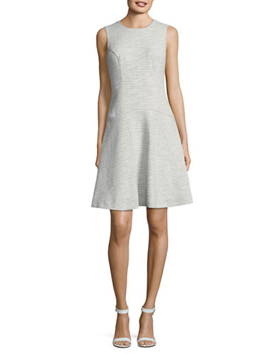 Tommy Hilfiger Metallic Tweed Drop-Waist Flare Dress-GREY-14