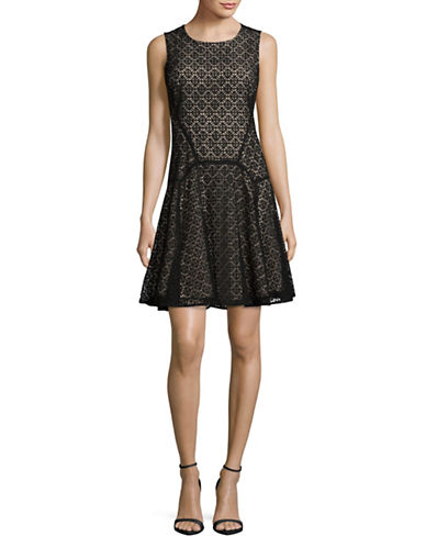 Tommy Hilfiger Sundial Lace Flared Dress-BLACK-12