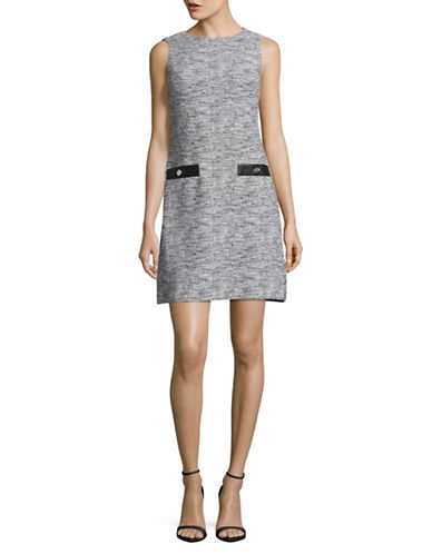Tommy Hilfiger Stretch Knit Sheath Dress-WHITE/BLACK-12