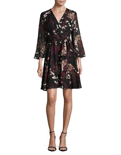 Ivanka Trump Floral Wrap-Style Dress-BLACK-4