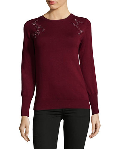 Ivanka Trump Embellished Crew Neck Pullover-RED-Small