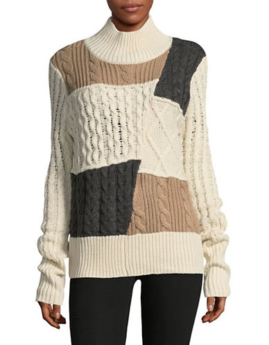 Ivanka Trump Mix Cable-Knit Sweater-MULTI-Large
